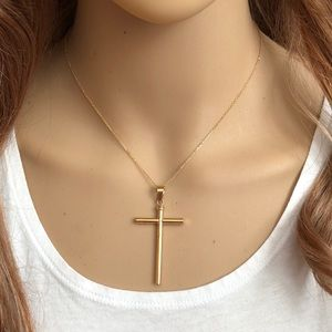 Jewelry - 14K Solid Gold Cross Cable Chain Necklace